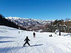 谷川連峰の絶景を楽しみながらのスキー=みなかみ町の宝台樹スキー場