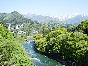 芽吹き始めた若葉の緑が美しい諏訪峡=みなかみ町